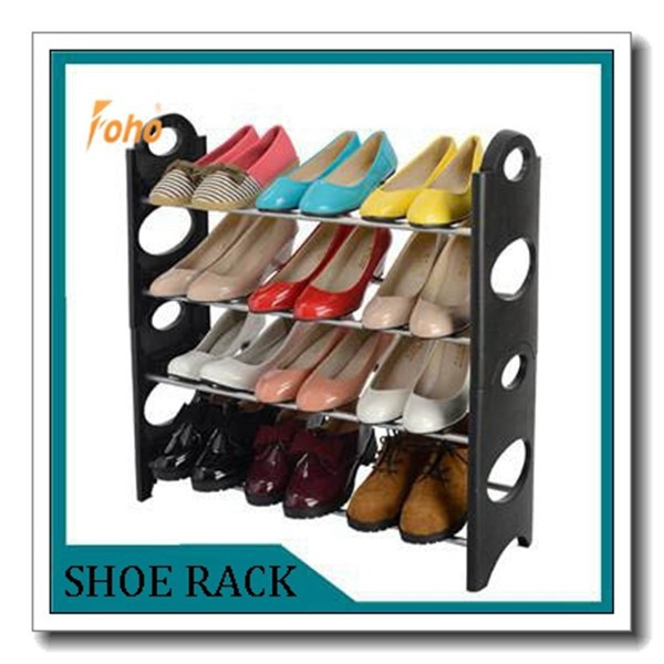 Stable wrought iron shoe rack