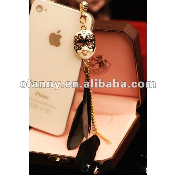 3.5mm fashion feather mask Iphone cellphone Dust Cap Plug