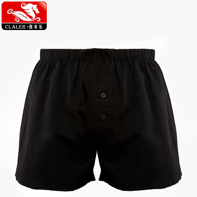 Loose Woven Long Boxers In Black Popular Men's Underwear Shorts