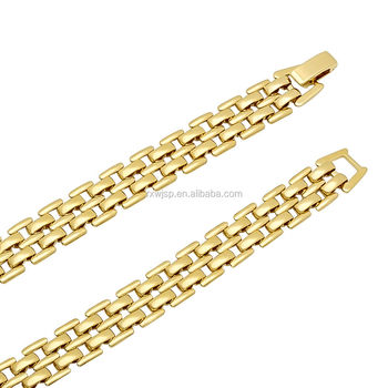 Men's Flat 14K Yellow Gold-Plated 9mm Polished 5 Row Panther Link Chain