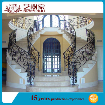 Decorative Luxury Interior Wrought Iron Handrail / Outdoor Wrought Iron Stair  Railings/lowes Wrought Iron