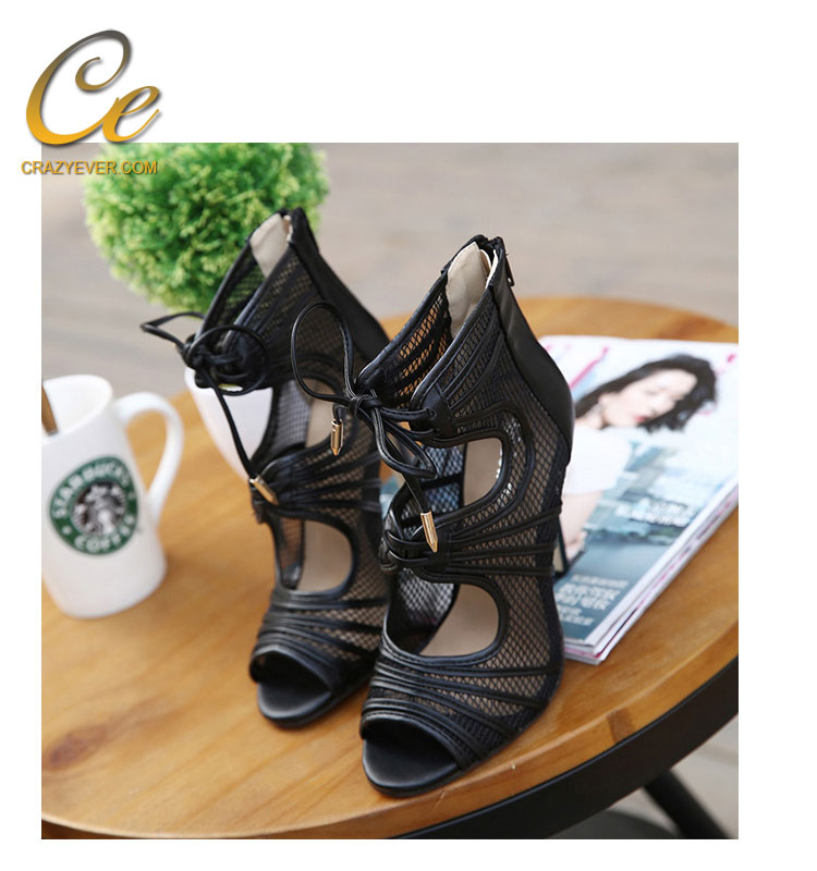 Latest Fashion Girls Sandals Peep Toe Shoes High Heels Lace-up Sandals Stiletto Sandal