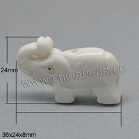 Carved white elephant shape pendants natural animal Bone Beads for jewelry making