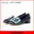 big buckle with patent leather low heel elegant blue dress shoes for women