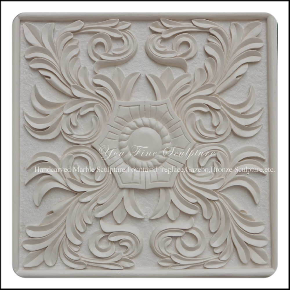 Detailed Carving Natural White Sandstone Wall Relief Murals