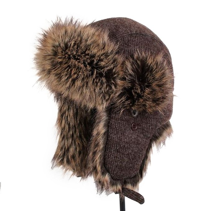 Faux fox fur winter warm Russian style bomber aviator trapper hat winter hats with two strings on side