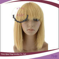 cheap straight bob style short Blonde Synthetic Wig