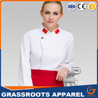 Women wear fit chef uniform sexy design long style kitchen wear classic chef uniform