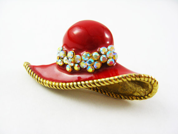 New arrival beautiful design red enamel white rhinestone hat shape brooch pins