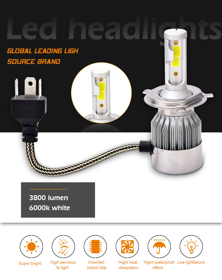Auto Part COB chip c6 led headlight 36W 7600LM with H7 H4 9005 9006 H15 H13 H11 for Car