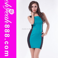 Sexy design adult women club wear hot sale contrast color fashion dress