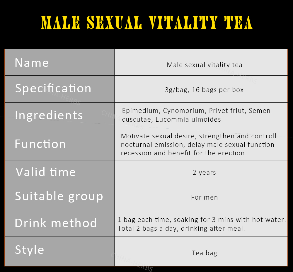 GMP certified Male Herbal Sex Tea for Men Sexual Vitality long time Sex Delay medicine