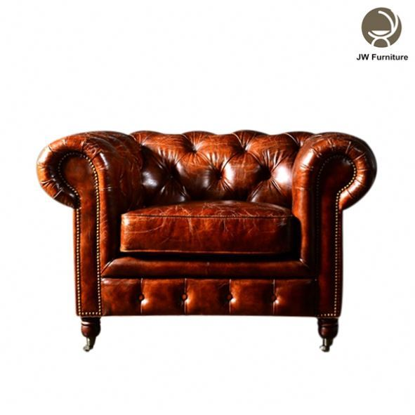 Classical model chesterfield leather single seat sofa luxury sofa sets