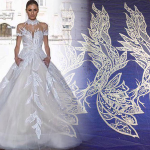 Fancy design chemical guipure 100% polyester embroidery lace fabrics for bridal wedding lady dress