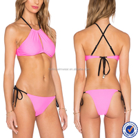 China swimwear fashion swimwear bikini model halter design open back sexy ladies bikini