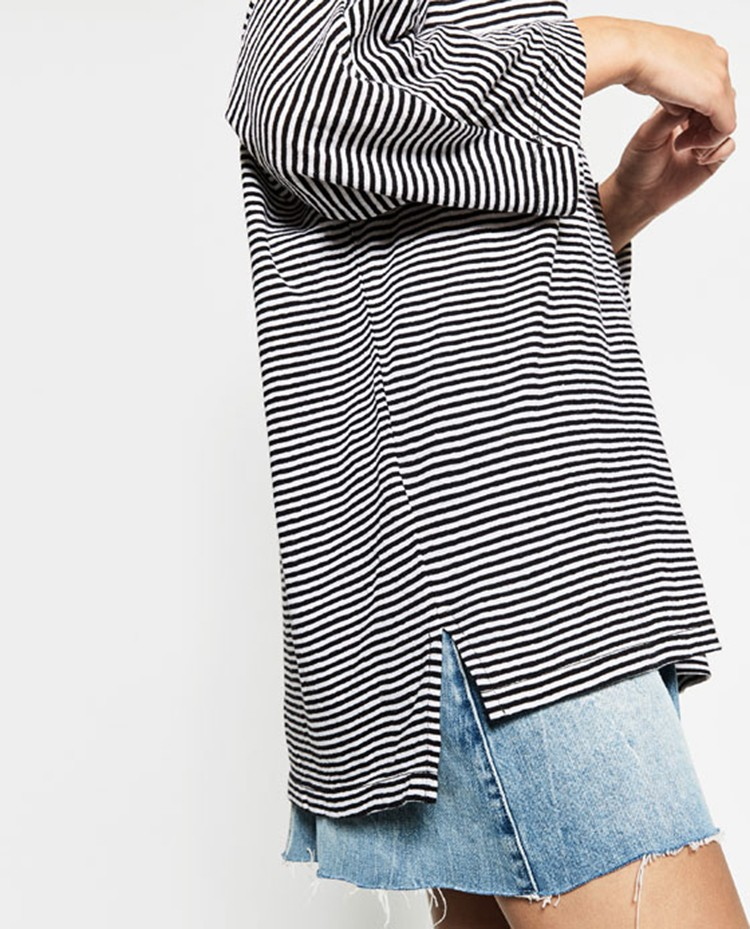 loose extended long tail blank dry fit custom striped long sleeve t shirt woman china wholesale plain design