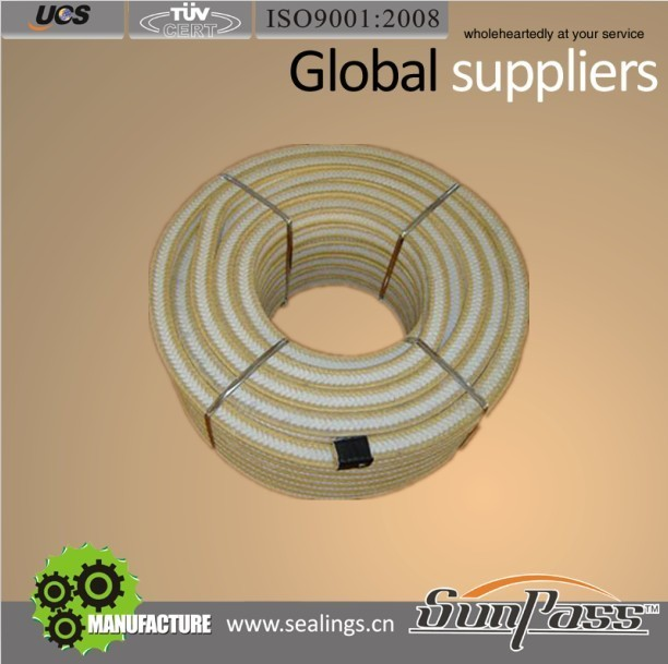 Mechanical Seal Certificate ISO9001:2008 Pure PTFE Kevlar Fiber Gland Packing