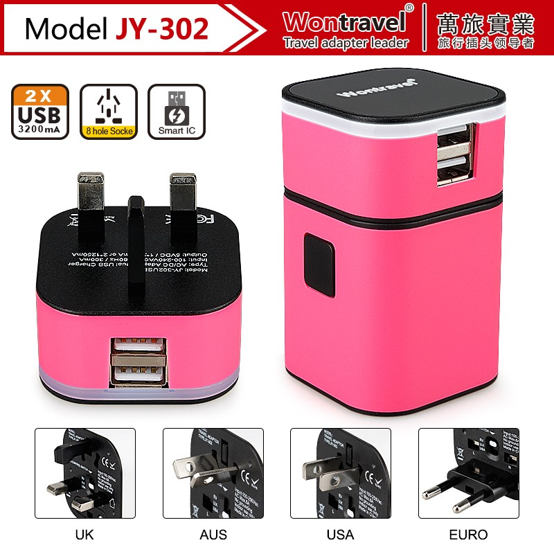 JY-302 New Multi port USB charger 3 port charging station for cell phone intelligent travel charger