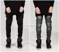 PJ02 European and American street BIKER JEANS locomotive men Tide folds Slim jeans