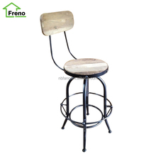 Vintage Industrial Furniture Adjustable Metal Bar Stool Swivel Reclaimed Wood Bar Stool High Chair