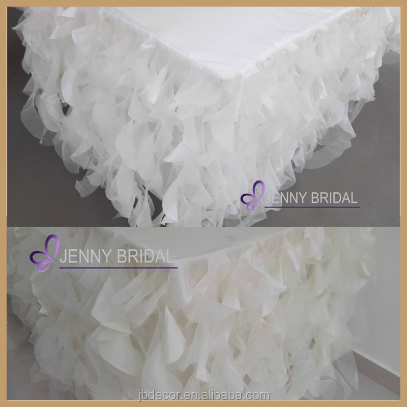 TC017C3 hot and popular ,curly willow white ruffled table skirt