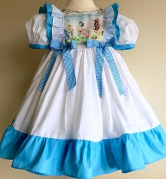 Baby Fashion White And Blue Bottom Dress Children Party Dresses Wholesale Cheap Girls Clothing
