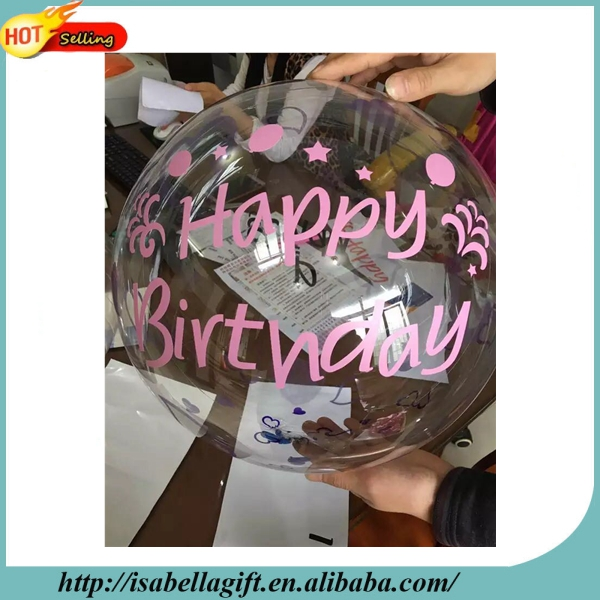 Wholesale 18inch happy birthday words round transparent balloon for wedding