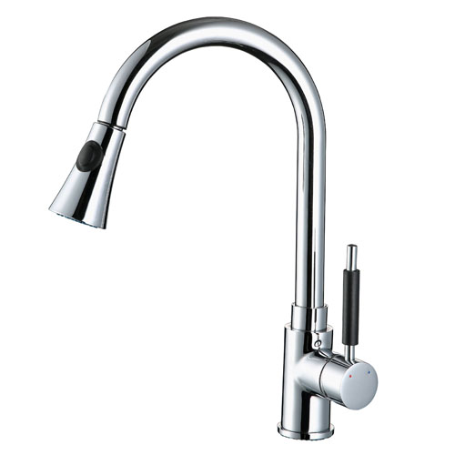 brush nickel rotatable long neck kitchen faucet on sale in