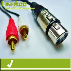 Linkacc8sT 2 RCA male to XLR Female Stereo audio speaker amp Y cable