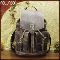 Stylish crazy horse natural leather drawstring backpack bag