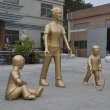 Fiberglass children play sculpture statue