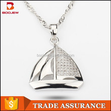 professional manufacture wholesale sailing boat pattern silver pendant for men