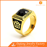 2016 Wholesale Crown Black Glass stone Latest Gold Ring Designs For Men
