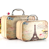 Flat Cosmetic Bags PU makeup cases Paris Print Architectural pattern Travel Storage Bags Handbag 2 pcs/set