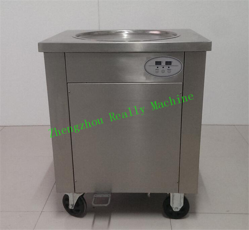2017 newest Import compressor diametre 500mm single round pan stainless steel 304 frying ice cream machine ice cream roll maker