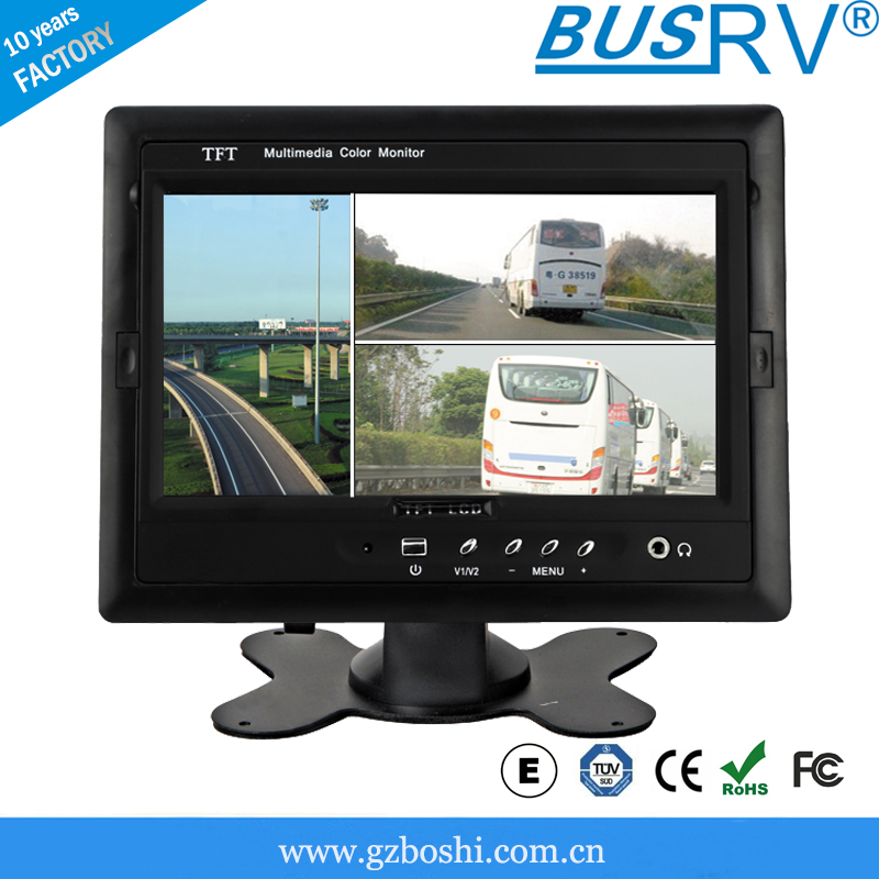 7inch digital 4 split screen car lcd monitor with four backup cameras input