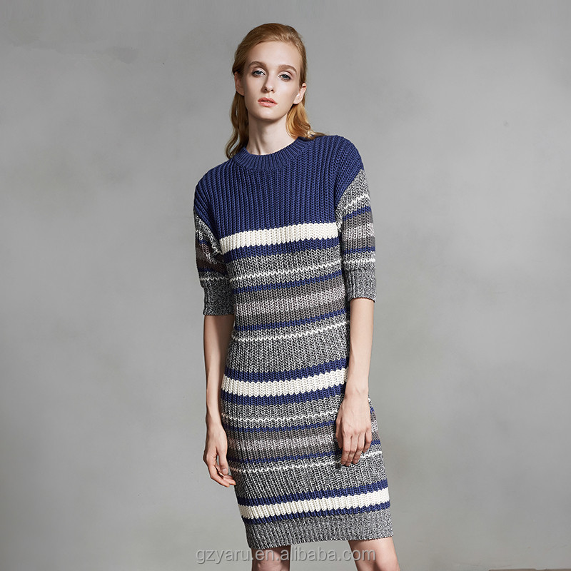 Long maxi wrap dress sweater pullover slim contrast color stripe knitwear for women young sweet girls cheap winter clothes