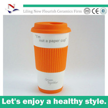 Liling 16oz ceramic coffee mug with silicon bottom ,sleeve and lid for NFA0084