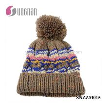 Fashion Multicolor Warm Men Stripe Knitted Cap Curling Ball Wool Hat