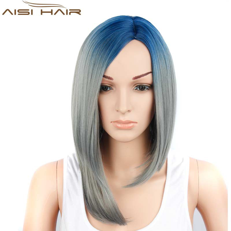 Medium Length Fashion Women's Synthetic Wigs Ombre Blue and Grey Color Silky Straight Wave Synthetic Hair Cosplay Wigs