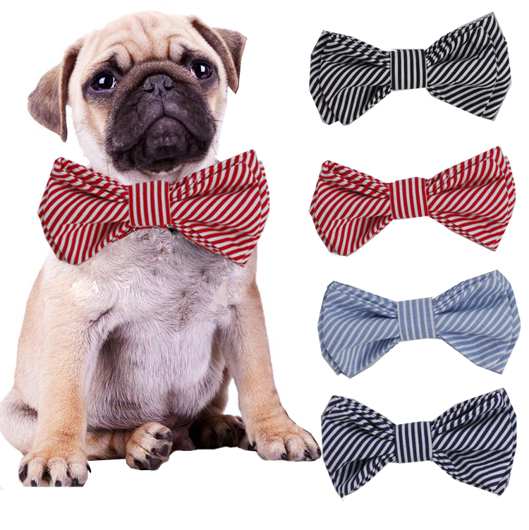 Bule And White Stripe Led Dog Cat Collar Bow Ties