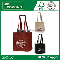 Strong long handles nonwoven wine tote bag
