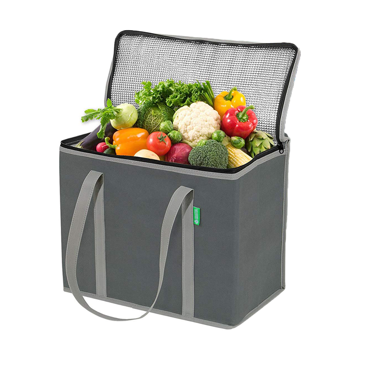 Large Reusable Grocery shopping Tote Bags with premium , handles and reinforced sides Foldable Insulated delivery bags