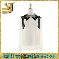 Hot sellingfashion chiffon lady top designer,designer long sleeve blouses,party wear with designer blouse material