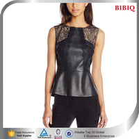 sexy woman modern casual clothes elegant black leather corset tops lace shirt patchwork latest blouses