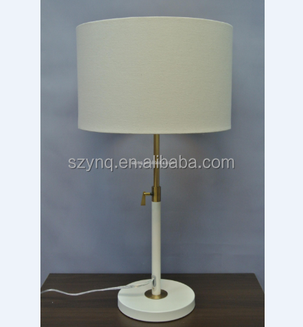2016 hotel table lamp with power outlet Shiny Nickel Finish for wholesale