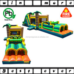 Tropical Island Jump & Slide Obstacle Course , Giant Cheap Inflatable Obctacle Course for Sale