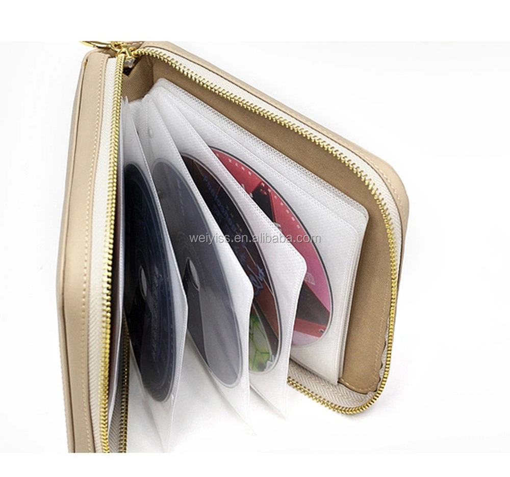 Popular Style Round Shape Leather CD Holder with Zipper, Portable Leather Car CD Carrying Case for Promotional