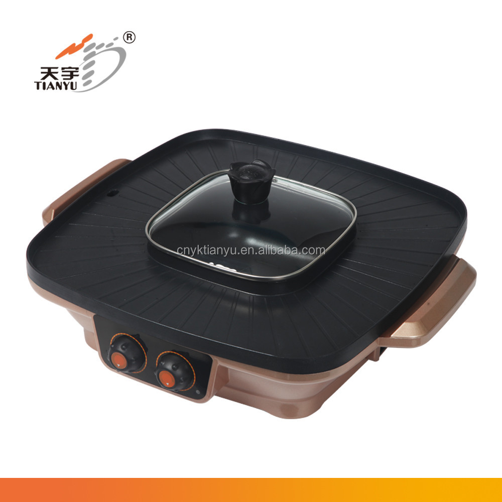 korean style electric shabu shabu hot pot with divider with bbq grill function