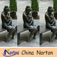 life size nude woman bronze sculpture with kid NTBH-C680R